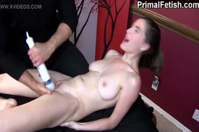 Horny college girl cums on her own face.