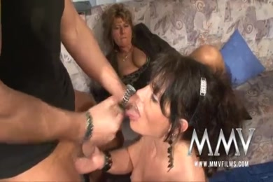 Dirty stepson having fun with his mature mommy.